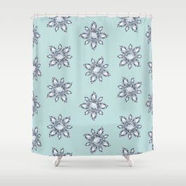 Jewelbox: Diamond Brooch Repeat in Eggshell Aqua Shower Curtain