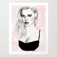 megan lara Art Prints featuring Lara by Katie Jagielnicka
