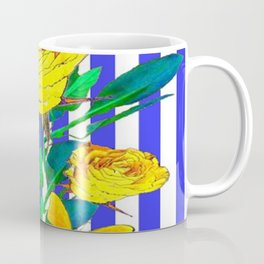 YELLOW SPRING ROSES & BUTTERFLIES WITH LILAC STRIPES Coffee Mug