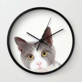 Cat with Yellow Eyes Wall Clock