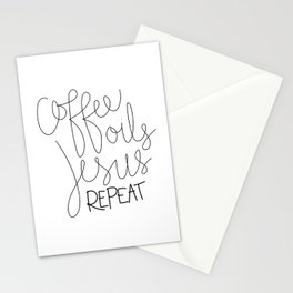 Coffee Oils Jesus Repeat Stationery Cards
