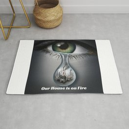 Climate Change Action - Our House is on Fire Greta Thunberg quote Rug