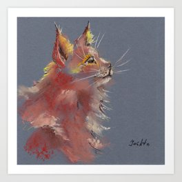 Red cute fluffy cat drawing by pastel Art Print