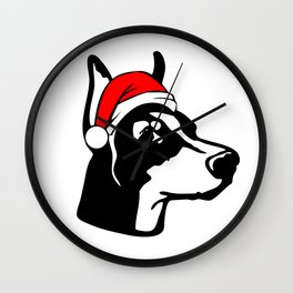 Doberman Dog with Christmas Santa Hat Wall Clock