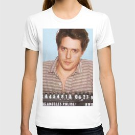 Painting of Hugh Grant Mug Shot 1995 Black Color Mugshot T-shirt