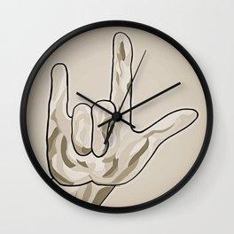 ASL I Love You Sepia Tones Wall Clock
