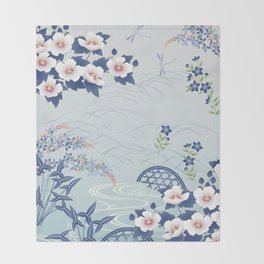 Elegant Light Blue Japanese Flower Garden Throw Blanket