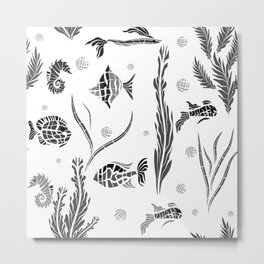 Black and white pattern. Fish . Metal Print