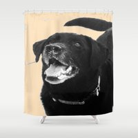 labrador Shower Curtains featuring Labrador Happy by Jennifer Warmuth Art And Design