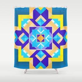 Geometric Tribal Mandala Inspired Modern Trendy Vibrant (Blue, Cobalt, Yellow, Orange, Purple) Shower Curtain