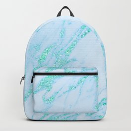 Teal Marble - Shimmery Glittery Turquoise Blue Sea Green Marble Metallic Backpack