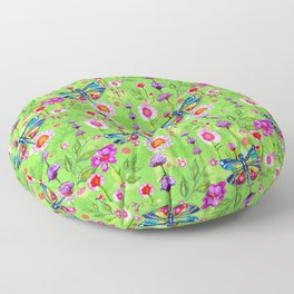 Tropical Dragonfly Garden Floor Pillow