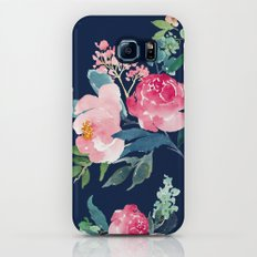Navy and Pink Watercolor Peony Slim Case Galaxy S7
