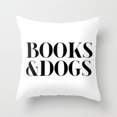 Books&Dogs - Black and White Throw Pillow