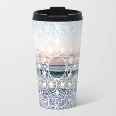 Flower shell mandala - shoreline Travel Mug