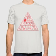 Food Pyramid MEDIUM Mens Fitted Tee Silver