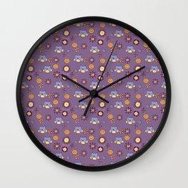 Owl, purple pattern Wall Clock