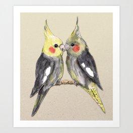 Two cute cockatiels Art Print
