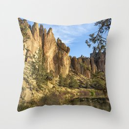 Cool Formations of Smith Rock in Morning Light Throw Pillow