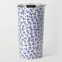 Maritime Anchors pattern- blue anchor on white background Travel Mug