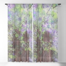Old Tree Thick Branches Green & Blue Colors Sheer Curtain