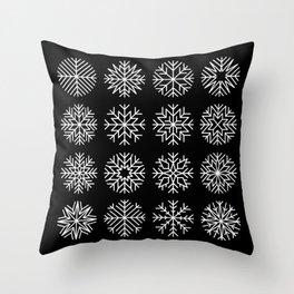 minimalist snow flakes on black Throw Pillow