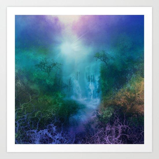 purple forest landscape Art Print