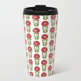 Dot Floral in Red Metal Travel Mug