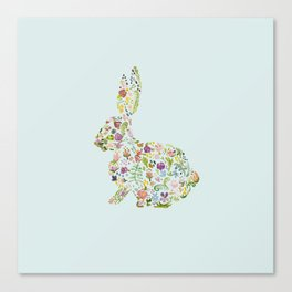 Spring Flowers Bunny on Blue Canvas Print