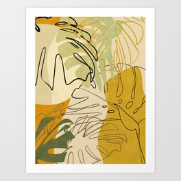 bungle jungle 1 leaves lines  Art Print