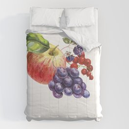 Composition of realistic fruits on a white background in vintage style. Apple, blackberry, red curra Comforters