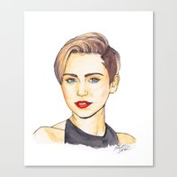 miley Canvas Prints featuring Miley by Kaitlin Polak