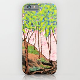 Brian's Spring Twilight Woods by Mike Kraus - trees forests woods nature brown green pink flower art iPhone Case