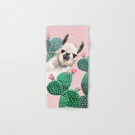 Llama and Cactus Pink Hand & Bath Towel
