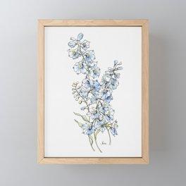 Blue Delphinium Flowers Framed Mini Art Print