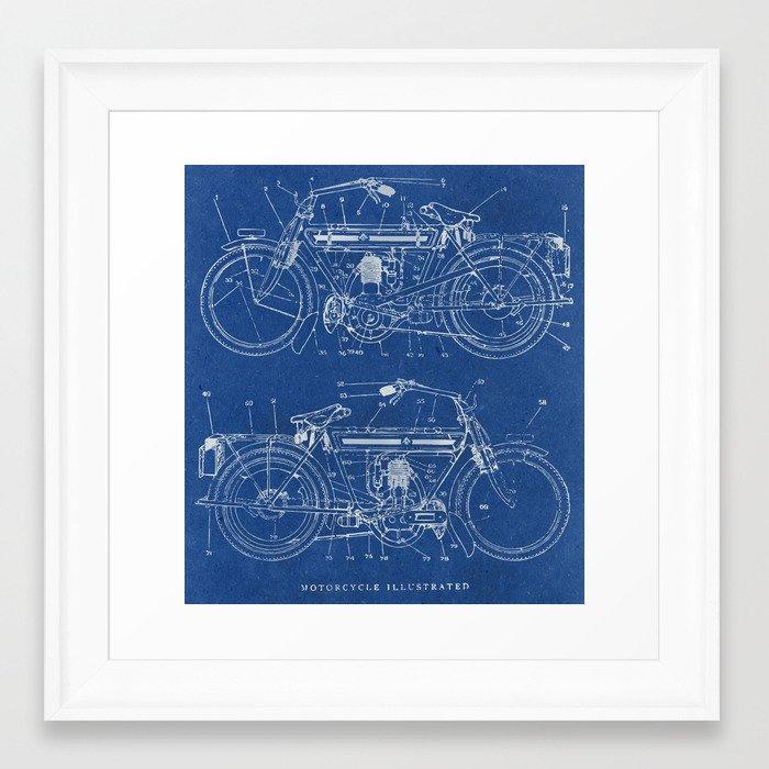 Motorcycle blueprint framed art print by marcusmelton society6 malvernweather Images