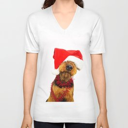 Airedale Terrier Christmas Photography Unisex V-Neck