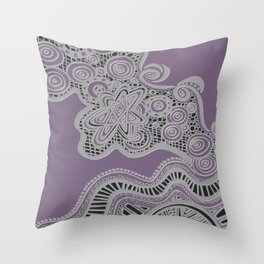 Just a Squiggle Here and There - Purple Throw Pillow