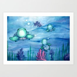 Bitty Sea Turtles Art Print