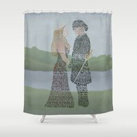princess bride Shower Curtains featuring The Princess Bride Poster Art Print Typography by Skahfee Studios