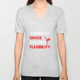 Strength Grace Balance Flexibility Gymnastics T-Shirt Unisex V-Neck