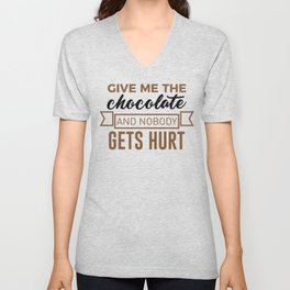 Stay Safe Keep Calm Eat Chocolate Safety Funny Design Unisex V-Neck