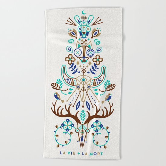 La Vie & La Mort – Turquoise and Brown Beach Towel