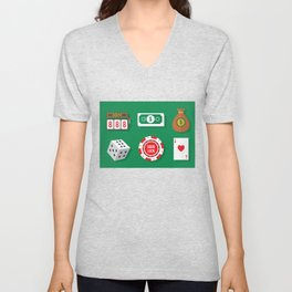 Cash, Slots, Chips, Dice & Cards - Nevada Day Unisex V-Neck