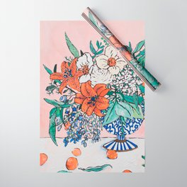 California Summer Bouquet - Oranges and Lily Blossoms in Blue and White Urn Wrapping Paper