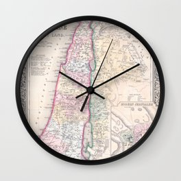 Old 1864 Historic State of Palestine Map Wall Clock