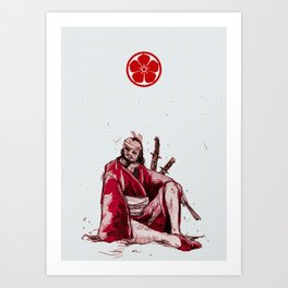 Red Samurai Art Print