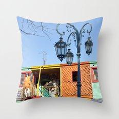 Street Lights of La Boca III Throw Pillow