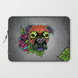 Boxer in Fawn - Day of the Dead Sugar Skull Dog Laptop Sleeve