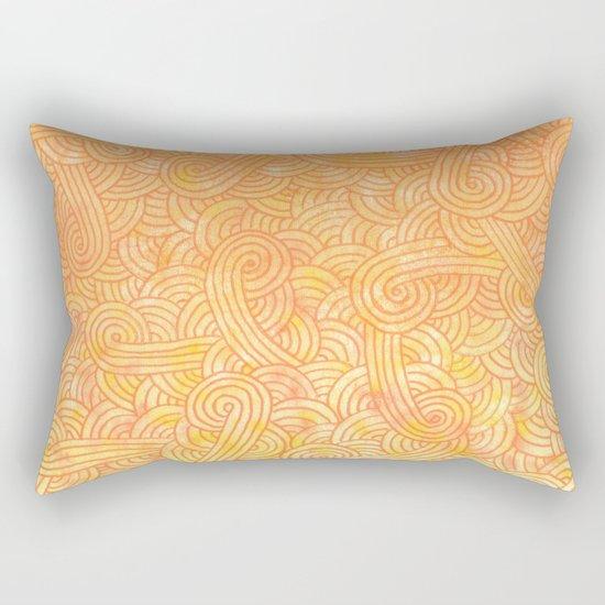 Ombre yellow and orange swirls doodles Rectangular Pillow